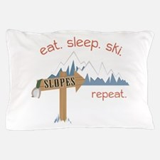 Slopes Eat. Sleep. Ski. Repeat. Pillow Case