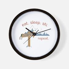 Slopes Eat. Sleep. Ski. Repeat. Wall Clock