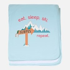 Slopes Eat. Sleep. Ski. Repeat. baby blanket