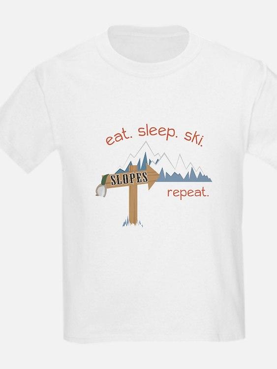 Slopes Eat. Sleep. Ski. Repeat. T-Shirt