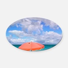 Beach chairs on Grace Baynciales I Oval Car Magnet