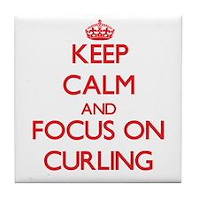 Cute I heart curling Tile Coaster