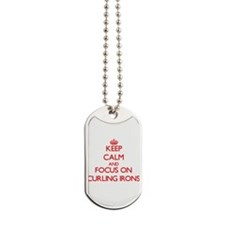 Funny I heart curling Dog Tags