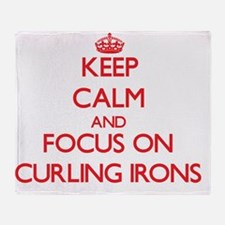 Funny I heart curling Throw Blanket