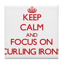 Funny I heart curling Tile Coaster