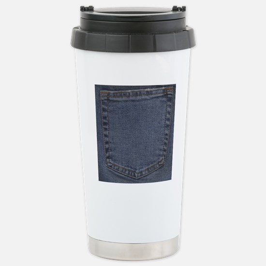 Blue Denim Pocket Stainless Steel Travel Mug