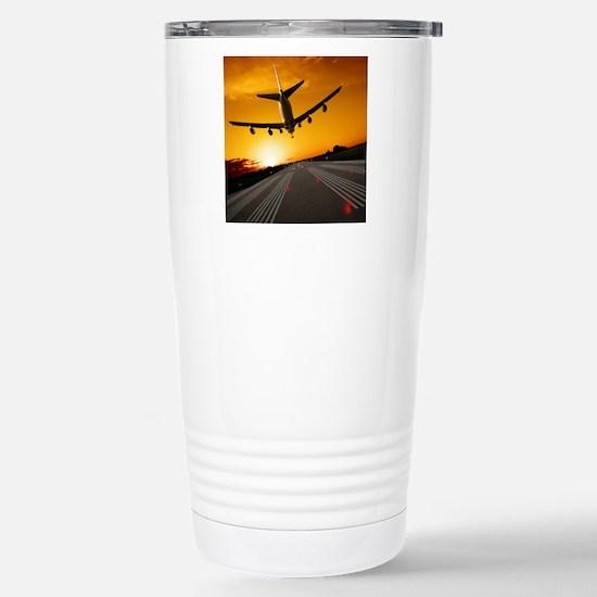 Jumbo jet airplane land Stainless Steel Travel Mug