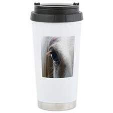 Close up of White horse Travel Mug