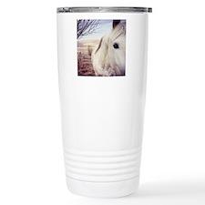 Close up of white horse Travel Coffee Mug
