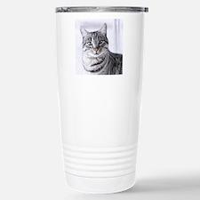 Tabby gray cat and gree Travel Mug