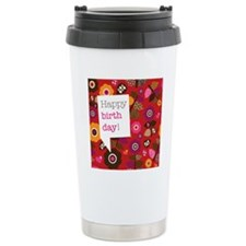 Cute retro red flowers  Travel Coffee Mug