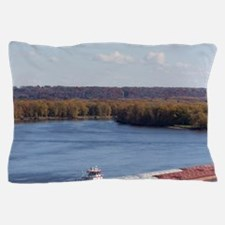 IA, Dubuque, Towboat and barges, on th Pillow Case