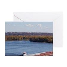 IA, Dubuque, Towboat and barges, on  Greeting Card