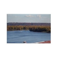 IA, Dubuque, Towboat and barges,  Rectangle Magnet