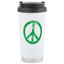 Green Distressed Peace Travel Mug