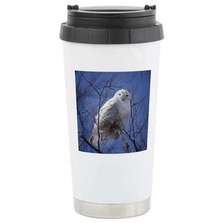 Snowy White Owl Stainless Steel Travel Mug