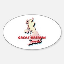 Great Britain Map Oval Decal