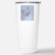 Snowy Kitten round Stainless Steel Travel Mug