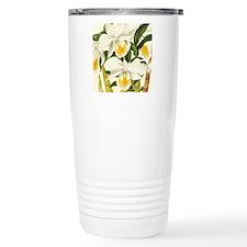 White Orchid Travel Coffee Mug