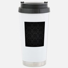 Elegant Black Flourish Stainless Steel Travel Mug