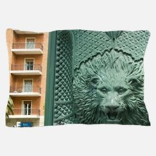 Spain, Bilbao. Lion fountain in histor Pillow Case
