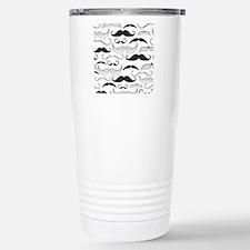 Mustache Black Stainless Steel Travel Mug