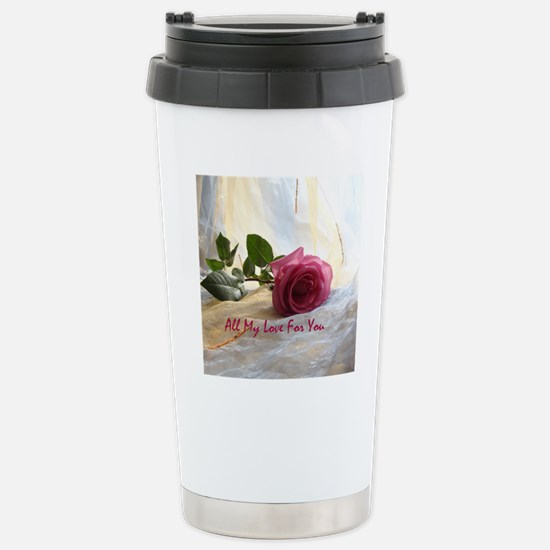 Beautiful Romantic Rose Stainless Steel Travel Mug