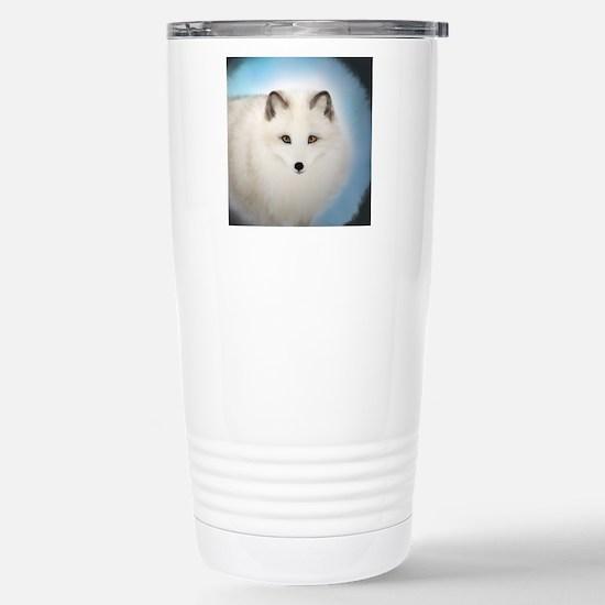 Arctic Fox with Blue Ba Stainless Steel Travel Mug