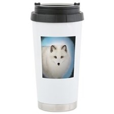 Arctic Fox with Blue Ba Travel Coffee Mug