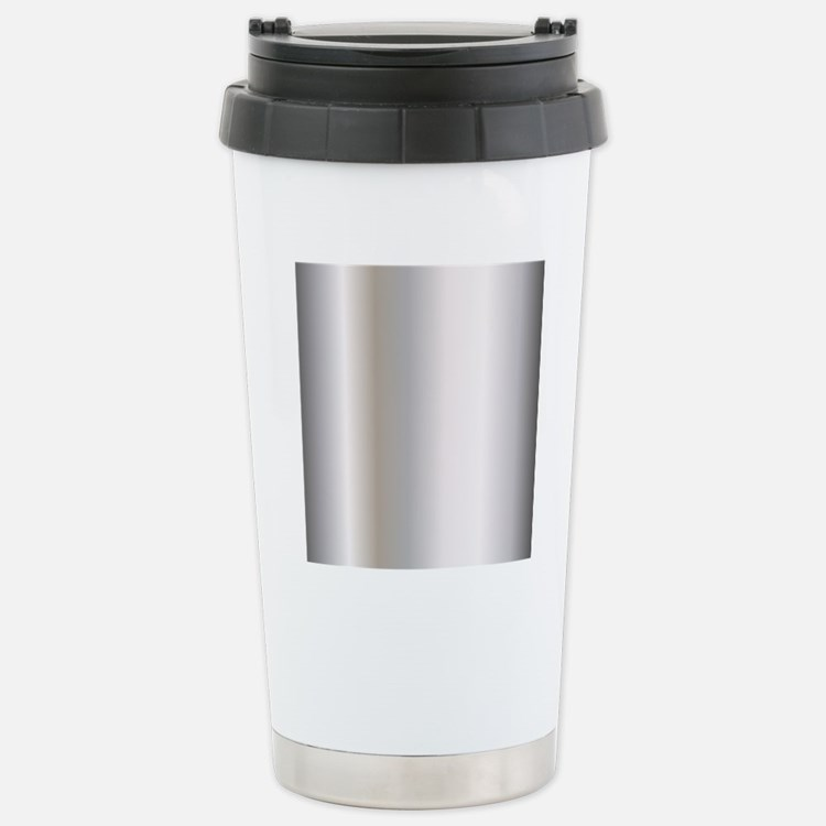 Metallic Silver Stainless Steel Travel Mug
