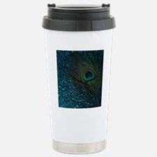 Glittery Aqua Peacock Stainless Steel Travel Mug