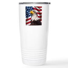 USA flag with bald eagl Travel Coffee Mug