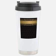Golden Stripe Vintage D Stainless Steel Travel Mug