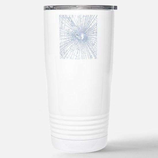 Broken Glass 2 White Stainless Steel Travel Mug