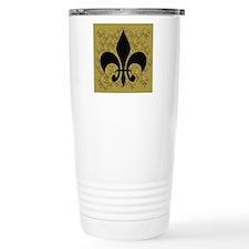 Black Fleur de lis Travel Mug