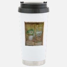Rustic Green Wood Doors Travel Mug