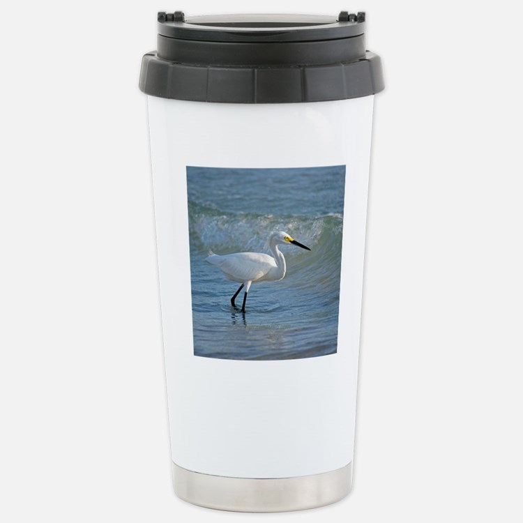 Snowy egret on the beac Stainless Steel Travel Mug