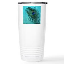 Metallic Aqua Peacock Travel Mug