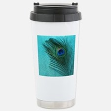 Metallic Aqua Peacock Travel Mug