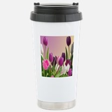 Purple and White Tulips Stainless Steel Travel Mug