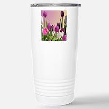 Purple and White Tulips Travel Mug