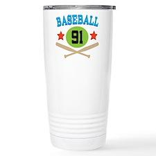 Baseball Player Number 91 Travel Mug
