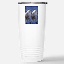 Snowy White Owl, Blue S Travel Mug