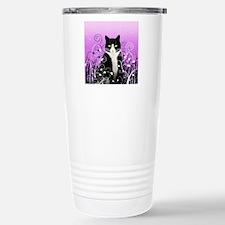Tuxedo Cat on Lavender Travel Mug