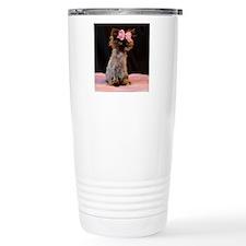 Freida wearing her pink Travel Coffee Mug