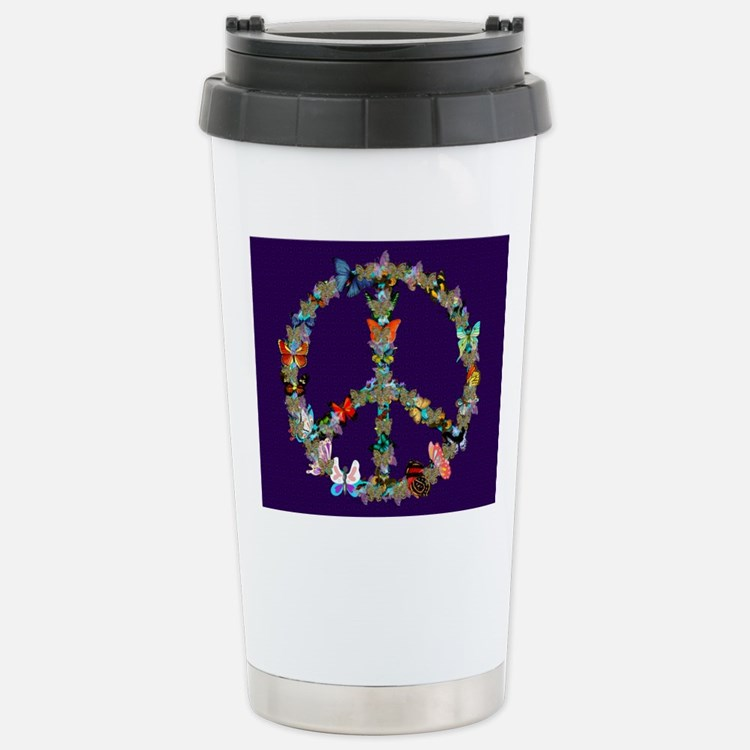 Butterfly Peace Sign Bl Stainless Steel Travel Mug