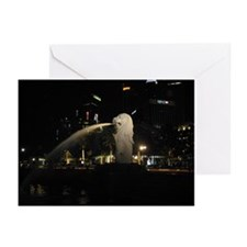 The Singapore Merlion At Night Greeting Cards (Pac