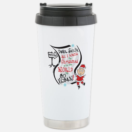 Vegan Christmas Wish Stainless Steel Travel Mug