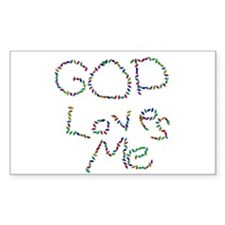 God Loves Me Rectangle Decal