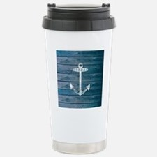 Anchor on Blue faux woo Stainless Steel Travel Mug